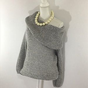 NORDSTROM DREAMERS COWL NECK GRAY KNIT SWEATER